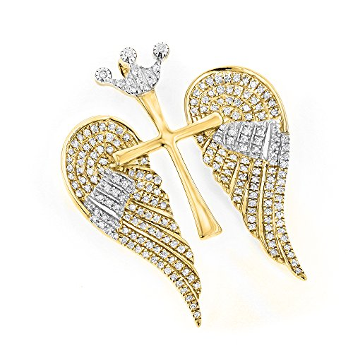 - Luxurman 14K Unique Angel Wings Natural 0.4 Ctw Diamond Cross Pendant With Crown (Yellow Gold)