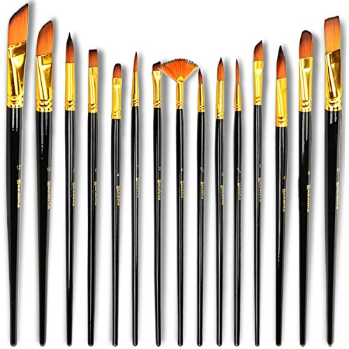 Komina Professional Paint Brushes 15 Pieces For All Types Of