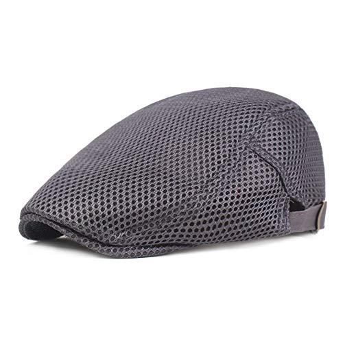 Leucos Ticte Flat Cap Men Breathable mesh Summer Hat Newsboy Beret Drivers Ivy Caps (001Dark Gray) (Summer Drivers Caps)