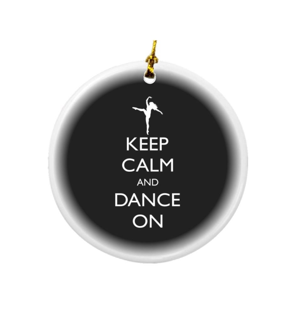 Rikki Knight Keep Calm and Dance on Black Color Design Round Porcelain Two-Sided Christmas Ornaments