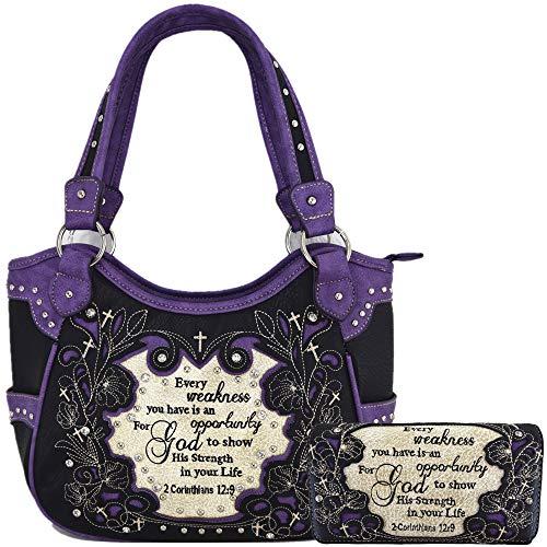 Embroidered Bible Verse 2 Corinthians 12:9 Purse Scripture Western Handbag Women Shoulder Bags Wallet Set (Black/Purple)