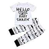 Clothes Set,Ba Zha  Newbron Kids Baby Girls Boys Outfits Clothes Letter Print T-Shirt Tops+Pants Set Toddler Kids 1PC Tops+1PC Shorts Letter Print Shirt Pants T-Shirt Set Kids' Wear (18M, White)