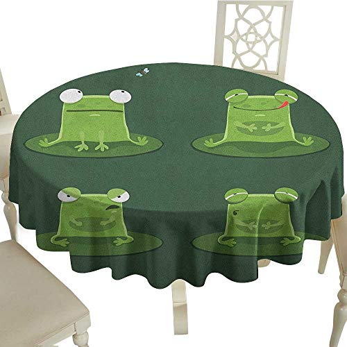 Cranekey Small Round Tablecloth 65 Inch Funny,Funny Muzzy Frog on Lily Pad in Pond Hunting Tasty Fly Expressions Cartoon Animal Hunter Green Great for,Party & More - Lily Frog Display Pad