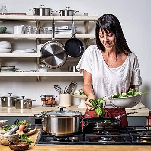 KitchenAid Set de Poêles à Frire en inox avec revêtement anti-adhésif et poignée en inox - Passe au four et au lave-vaisselle, convient à l'induction - 20/24/28 cm