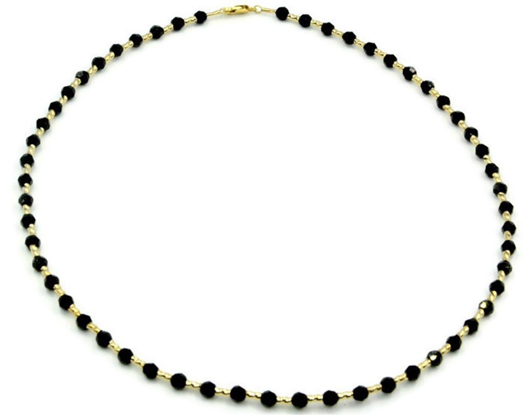 Black Onyx 16'' Necklace with 14k Yellow Gold Fancy Tubes
