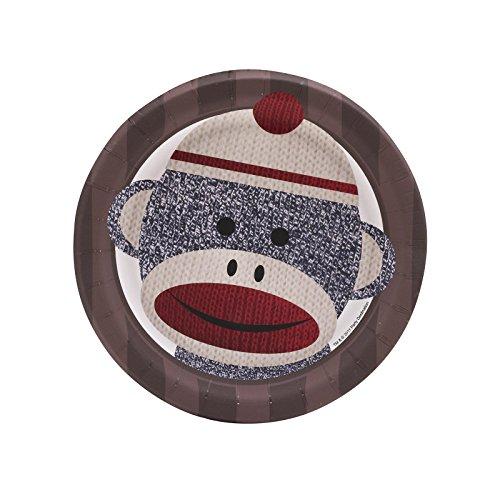 BirthdayExpress Sock Monkey Party Supplies - Dessert Plates (8) (Monkey Sock Plates)