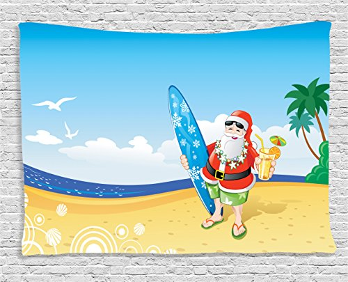 Ambesonne Christmas Tapestry, Santa Claus on the Beach with Surfboard Summer Party Celebration Tropical Art, Wall Hanging for Bedroom Living Room Dorm, 60 W X 40 L Inches, Blue Yellow (Santa Art Christmas)
