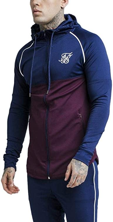 Sik Silk Chaqueta Zonal Zip Through Track Top – Burgundy & Navy (L ...