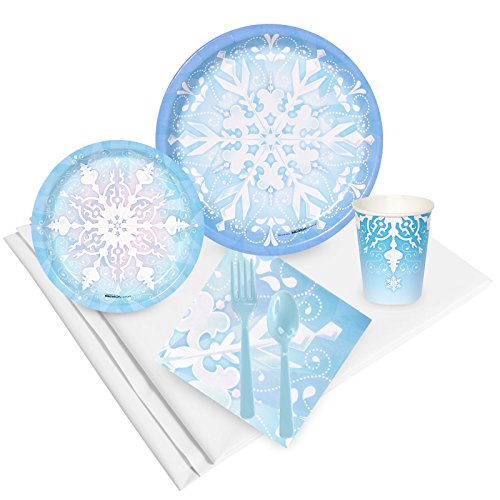 Snowflake Winter Wonderland Christmas Party Supplies - Party Pack