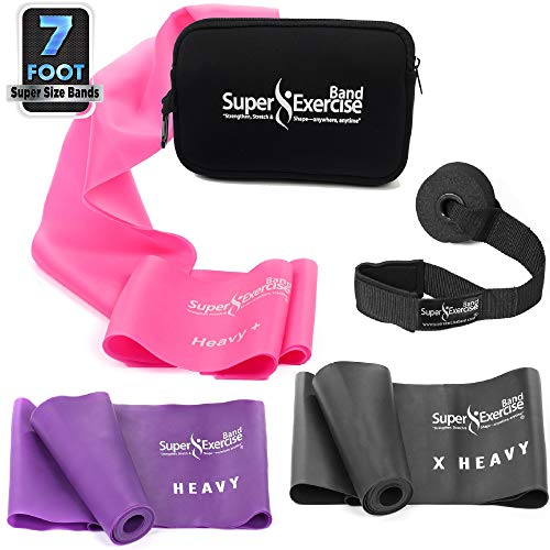- Super Exercise Band 7 ft Resistance Bands Set of 3. Ideal Fitness Gift Kit in Heavy Strength Latex Free Bands for Strength Training or Physical Therapy with Door Anchor, Carry Pouch, ebook.
