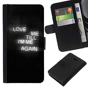 KLONGSHOP // Tirón de la caja Cartera de cuero con ranuras para tarjetas - El amor muestra de neón Corazón Negro Niebla texto - Sony Xperia M2 //