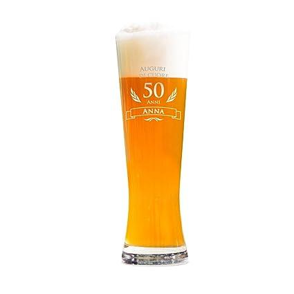 0058e149b2 AMAVEL Bicchiere per Birra Weiss con Incisione - 50 Anni - Personalizzato  con Nome - Calici