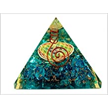 Blue Onyx Flower of Life Orgone Pyramid Christmas Tower Buster Piezo Electric EMF Protection Generator Frequency Ions Tested Cloud Chem Buster A++