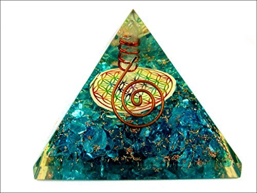 Blue Onyx Flower of Life Orgone Pyramid Christmas Tower Buster Piezo Electric EMF Protection Generator Frequency Ions Tested Cloud Chem Buster
