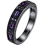BOHG Jewelry Womens Black Gold Plated New Fashion Mysti Purple Amethyst Cubic Zircon Crystal Ring Wedding Size 6