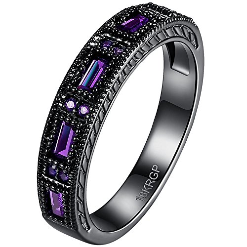 BOHG Jewelry Womens Black Gold Plated New Fashion Mysti Purple Amethyst Cubic Zircon Crystal Ring Wedding