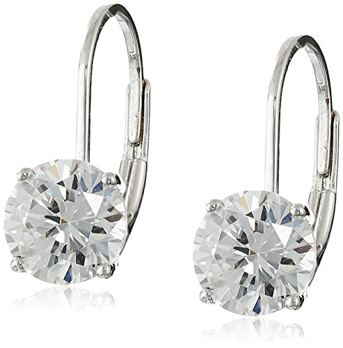 Silver Leverback Cubic Zirconia Earrings - Platinum Plated Sterling Silver Round 6.5mm Cubic Zirconia Leverback Earrings