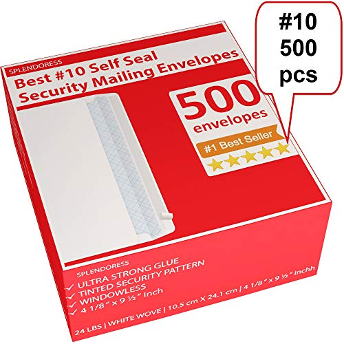Mailing Envelopes Self Seal - #10 Security White Letter Businesses Envelopes -500 Peel and Seal Tinted Windowless # 10 Envelope - Printer Friendly - Self Stick Bulk Envelops