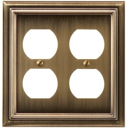 Amerelle Continental Double Duplex Cast Metal Wallplate in Brushed Brass