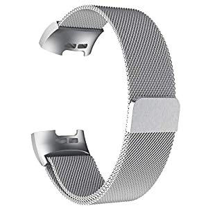 POY Metal Replacement Bands Compatible for Fitbit Charge 3 and Charge 3 SE Fitness Activity Tracker, Milanese Loop Stainless Steel Bracelet Strap with Unique Magnet Lock for Women Men