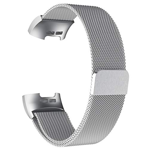 POY Metal Replacement Bands Compatible Fitbit Charge 3 Charge 3 SE Fitness Activity Tracker, Milanese Loop Stainless Steel Bracelet Strap Unique Magnet Lock Women Men, Large Silver