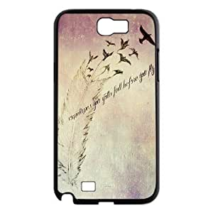 Feather Quote Fly Custom Cover Case for Samsung Galaxy Note 2 N7100,diy phone case ygtg615935