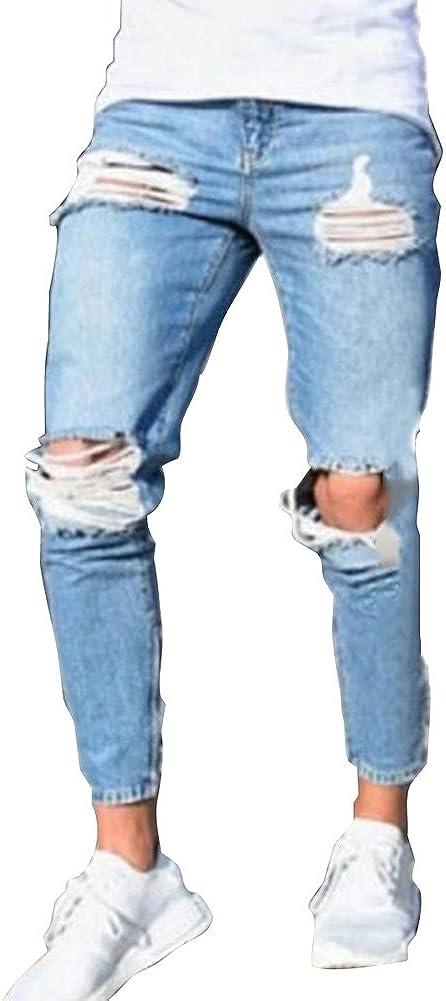 Fashion Straight Fit Cremallera Casual Jeans Rotos Moda Cintura Media Slim Fit Denim Pantalones Azul Claro Hombre Vaqueros Largo Vaqueros