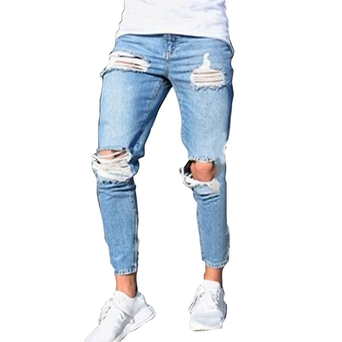 Hombre Vaqueros Largo - Fashion Straight Fit Cremallera Casual Jeans Rotos Moda Cintura Media Slim Fit Denim Pantalones Azul Claro J55cTXH9
