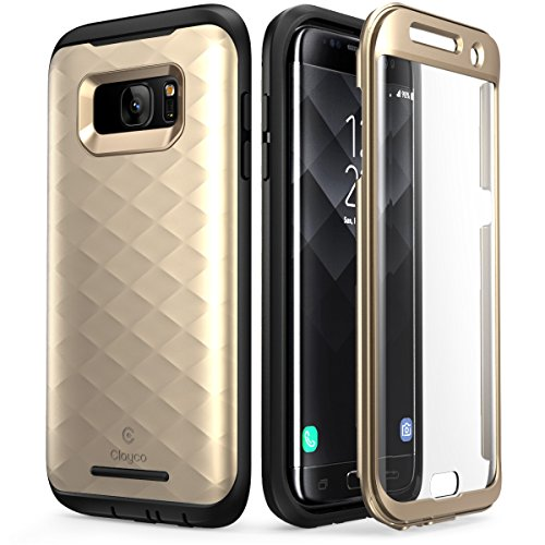 Galaxy S7 Edge Case, Clayco [Hera Series] Full-body Rugged Case with Built-in Screen Protector for Samsung Galaxy S7 Edge (2016 Release) (Gold)