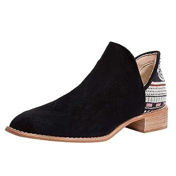 Botines sin Cordones de Ante con tacón Cuadrado Vintage Botas Martin Zapatos con Punta en Punta