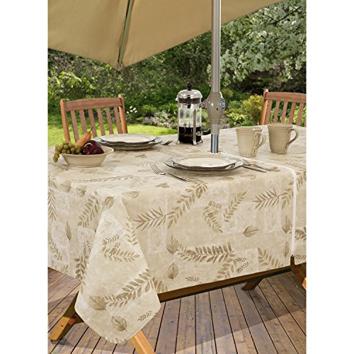 Boxed Fern Flannel Backed Vinyl Tablecloth Indoor Outdoor, 60-Inch by 84-Inch Oblong (Rectangle) with Umbrella Hole and Zipper, Taupe (Umbrellas Oblong Garden)