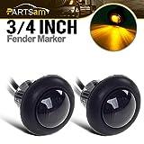 """2) 3/4"""" Smoked Amber LED Clearance Marker Bullet Light / Rubber Grommet 1 LED For Truck Pickups FLush Mount"""