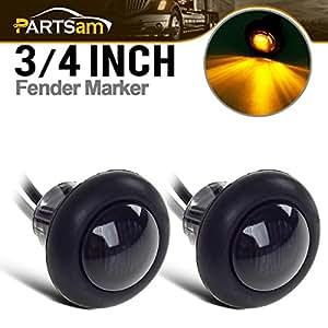 """2 3/4"""" Smoked Amber LED Clearance Marker Bullet Light/Rubber Grommet 1 LED For Truck Pickups FLush Mount"""