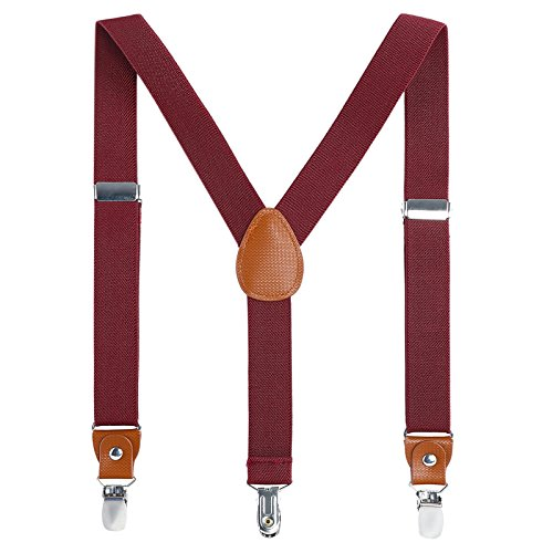 Children Boys and Adults Suspenders - Extra Sturdy Polished Silver Metal Clips, Genuine Leather Crosspatch Perfect for Tuxedo, Wine red 24 inches (7 Months-3 Years) ()