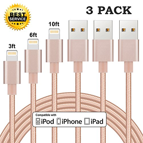 Price comparison product image Cablex Lightning Cable 3Pack 3FT 6FT 10FT iPhone Charger Nylon Braided Sync & Charging Cable Cord for iPhone X/8/8 Plus/7/7 Plus/6/6 Plus/6s/6s Plus/SE /5/5s, iPad and More (Gold)