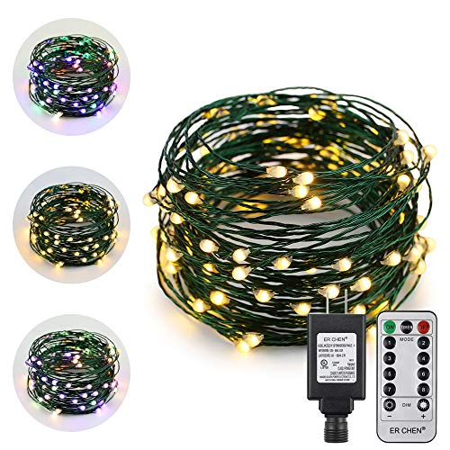 ErChen Dual-Color LED String Lights, Green Copper Wire Plug in 33 FT 100 LEDs Dimmable Fairy Lights with UL Adapter Remote Timer 8 Modes for Christmas Party Wedding (Multicolor/Warm White)