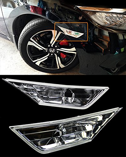 Honda Civic Hb Bumper - Fits for 2016-2019 10TH Honda Civic RS Style JDM Clear Lens Fender Bumper Side Marker Lamps Light