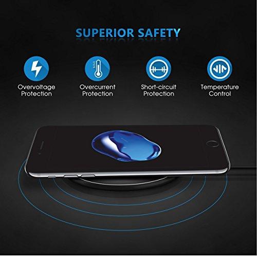 Cargador inalámbrico rápido iPhone 8 / iPhone 8 Plus / iPhone X, Cargador inalámbrico Samsung qi Cargador inalámbrico para Galaxy S8 / S7 / S6 / Note 8 /, Nexus 5/6/7 y todos los dispositivos habilitados para Qi de WiFun (Silve)