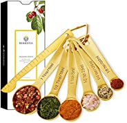 Gold Measuring Spoons Heavy Duty 18/8 Stainless Steel Measuring Set of 6 with Leveler includes: 1/8 tsp, 1/4 t