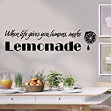 inspiring kitchen accent wall 3D Wall Stickers,TPTPT When Life Gives You Lemon To Make Lemonade Kitchen Art Inspiring Wall Stickers (Black)
