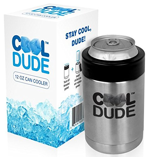 Cool Dude 12oz Can Cooler, Stainless Steel Beverage Insulator, Double Wall Vacuum Insulated