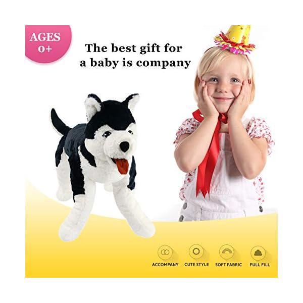Houwsbaby Large Lifelike Husky Stuffed Animal Soft Dog Plush Toy Cuddly Alaskan Malamute Puppy Gift for Kids Boys Girls Pets Home Decoration Holiday Birthday, 27.5'' (Husky) 5