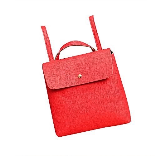 Women Lady Leather Satchel Shoulder Backpack School Rucksack Bags Travel - HHmei Litchi With Lid Backpack| Woman White Blue Tote Travel Set Small Backpack Gold Handbags Fashion Big Party Pink (Red)