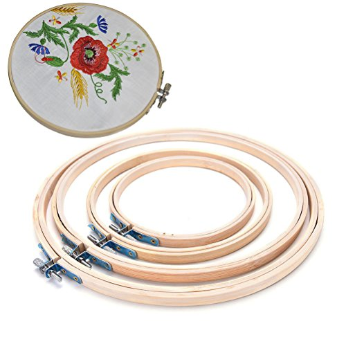 Buytra Embroidery Hoop Set Bamboo Circle Cross Stitch Hoop Ring for DIY Arts Crafts ()