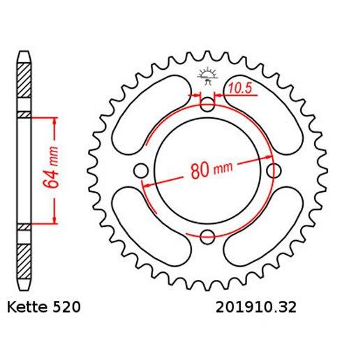 Kettensatz Yamaha YFM 125 Grizzly 04-12 12//32 offen Kette DID 520 L74