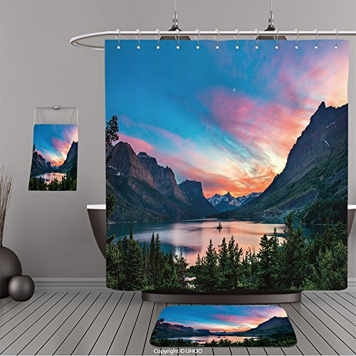 Uhoo Bathroom Suits & Shower Curtains Floor Mats And Bath Towels 296260760 Beautiful colorful sunset over St. Mary Lake and wild goose island in Glacier national park For - New Ny York Spring St