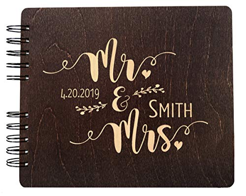 Weddings-by-StockingFactory Mr. and Mrs. Personalized Hand Made Wood Guest Book (11x8.5 or 8.5