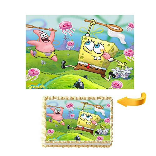 GEORLD SpongeBob and Patrick Edible Cake Image Wafer Paper Topper (1/4 -