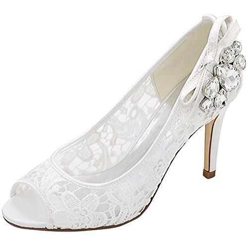 Loslandifen Femmes Peep Toe Dentelle Pompes Respirant Stiletto Talons Hauts Chaussures De Mariage Blanc / B