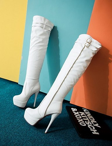 A Uk8 5 Tacón La Mujer De us10 Moda Uk7 Botas Semicuero Redonda Blanco White Casual us9 Stiletto Eu42 Cn43 5 Vestido Cn41 Eu40 Beige White Negro Zapatos Punta Xzz Uk tw1Hq8w